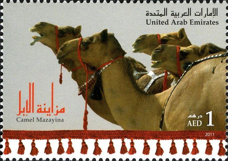 Stamp: Dromedary (Camelus dromedarius) (United Arab Emirates) (Mazaya-Dhafra-Camel Festival) Mi:AE 1071,WAD:AE031.11