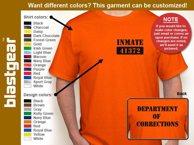 Department Of Corrections Inmate T-shirt — Any color/Any size - Adult S, M, L, XL, 2XL, 3XL, 4XL, 5XL  Youth S, M, L, XL by BlastGear on Etsy https://www.etsy.com/listing/162088225/department-of-corrections-inmate-t-shirt