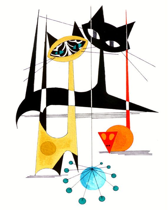 atomic mid century modern cat print retro art eames style cat art by dominic bourbeau 8 x10. Black Bedroom Furniture Sets. Home Design Ideas