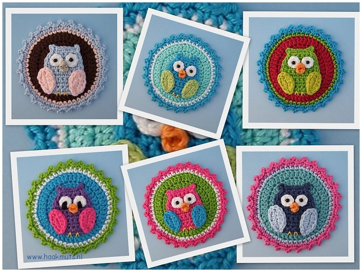 Applicatie button met uil - Haakmuts: Kleuren Uiltjes, Applies Hook, Allemaal Uiltjes, Uiltjes Als, Haakmuts, Crochet Owls, Haken Applicatie Button, Crocheted Owls, Uiltjes Haken