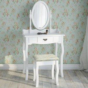 Kruk en tafel in Victoriaanse stijl in wit Grote lade Draaibare spiegel Tafel kan afzonderlijk worden gebruikt als bureau Stijlvolle handgreep, passend bij het ontwerp van de kaptafel Totale afmetingen (B / H / D): ca 76/146/40 cm Metingen tabel (B / H / D): ca. 76/80/40 cm Afmetingen Stoel (B / H / D): ca. 50/30/40 cm Gewicht: 15 kg Materiaal: MDF, echt hout Kleur: wit
