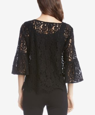 Karen Kane Embroidered Lace Top - Purple XL