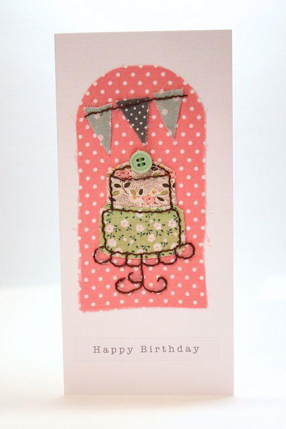 Handmade Birthday Card Fabric Collage Cake and Bunting