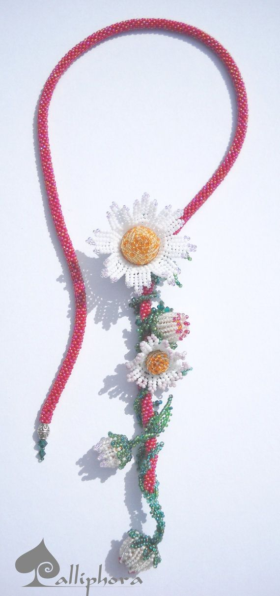 Herringbone necklace Beaded flowers Beaded by Calliphorabeads