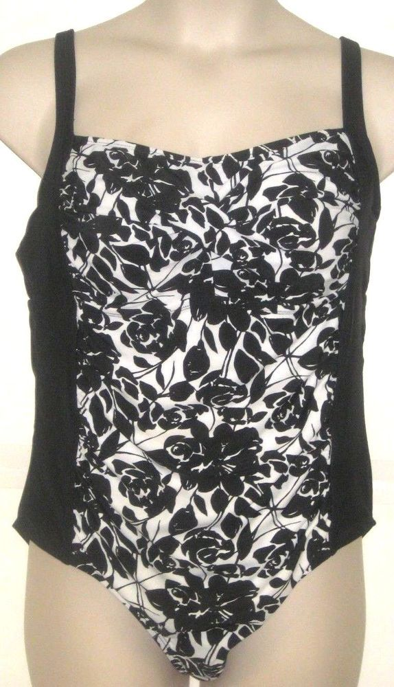 4b19c1007a3 Ava Viv Women s Black White Floral One Piece Swim Suit Plus Size 18W ...