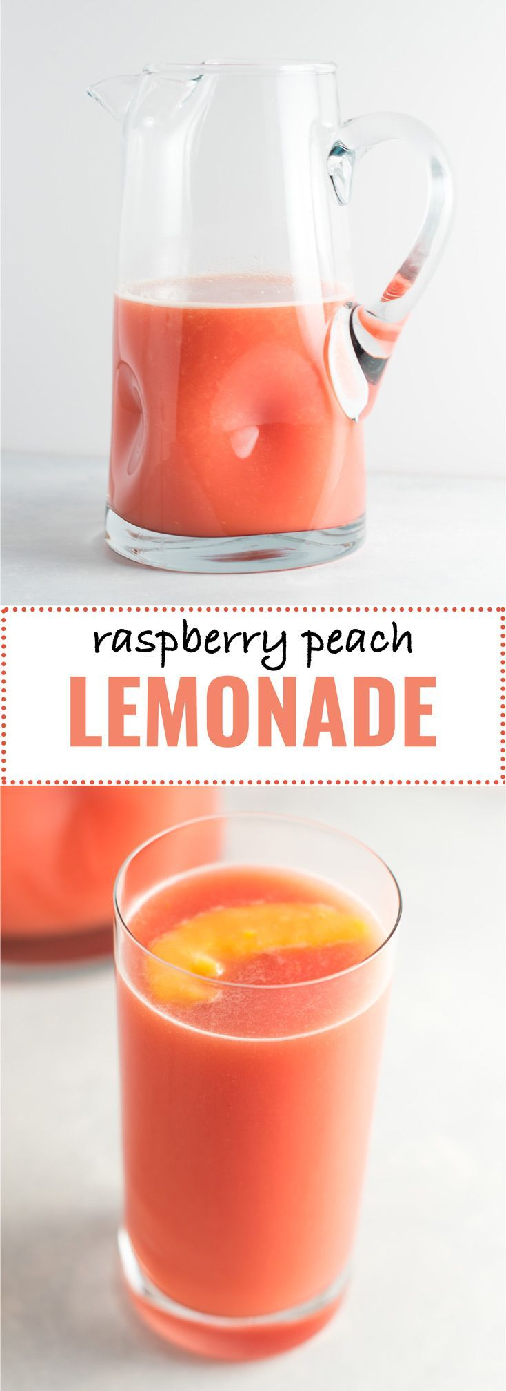 Fresh raspberry peach lemonade recipe made with lemons, raspberries, peaches, water, and maple syrup. Naturally sweetened and delicious! #lemonade #vegan #raspberrylemonade #peachlemonade
