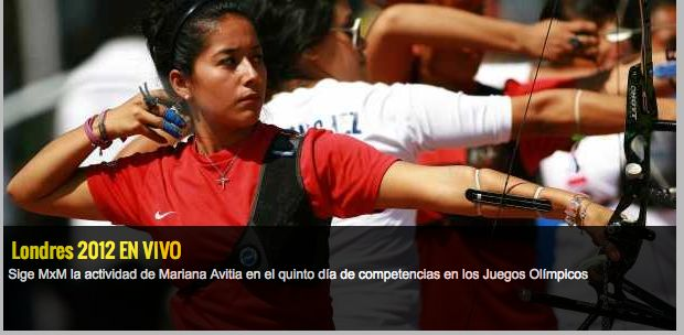 208d: A Mexican female archer concentrating before taking aim. The depth of field chosen focuses attention on the Mexican competitor rather than the other athletes in the shot. The camera focus and tight cropping produces a sense of compression amongst the competitors.