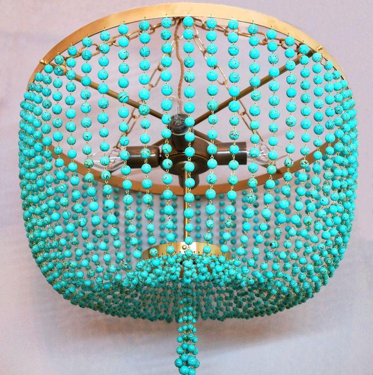 Латунная люстра бирюзовая в магазине «Бусины и Свет» на Ламбада-маркете