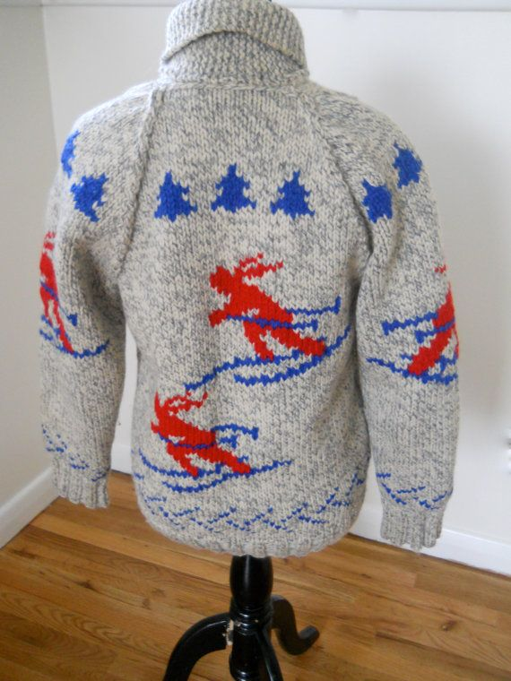 Mary Maxim Men's No. 435 The Skiers sweater jacket by SugarBank on Etsy