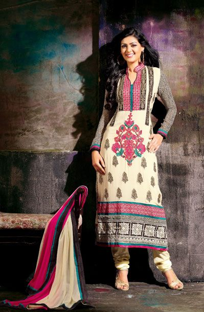 USD 58.86 Cream Butta Work Faux Georgette Churidar Suit 37900