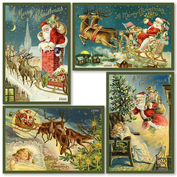 Santa Claus Christmas Quilt Blocks 6 Set of by AmericanQuiltBlocks