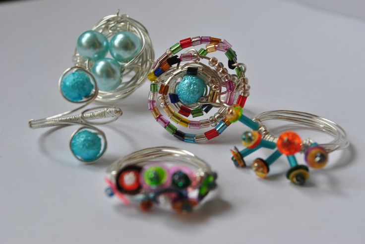 DIY wire + beads rings