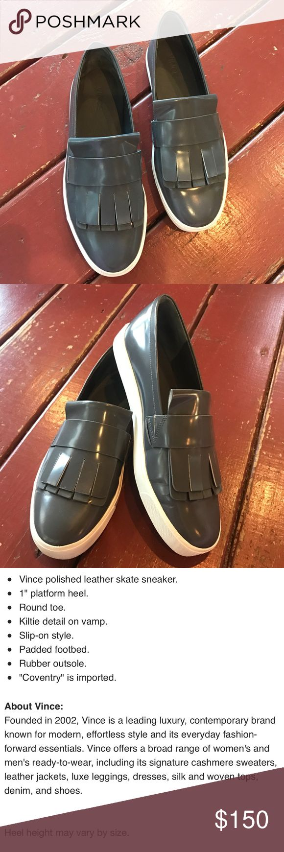 Coventry Kiltie Leather Skate Sneaker Gray patent with white rubber sole and fringe detail. Worn 1 time for short period. Open to offers! Vince Shoes Sneakers