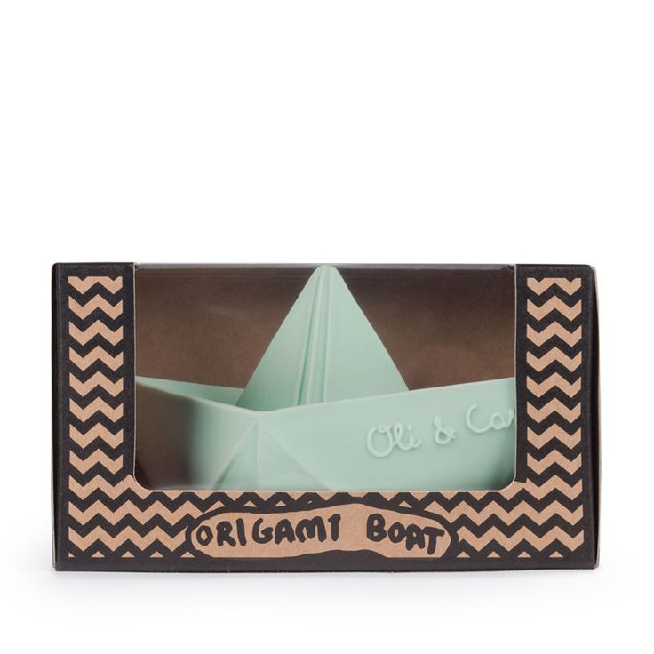 Oli & Carol Origami boot mint #rubberenbootje #kraamcadeau #babyspeeltje