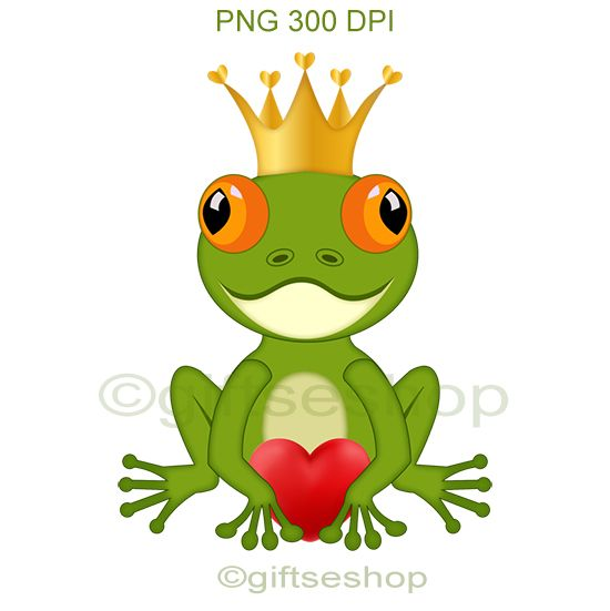 Frog with Heart Clip Art- Valentines Day Clipart
