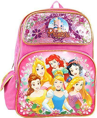 Disney Princess Cinderella Belle Aurora Rapunzel 16' Large Backpack. #Disney #Princess #Cinderella #Belle #Aurora #Rapunzel #Large #Backpack