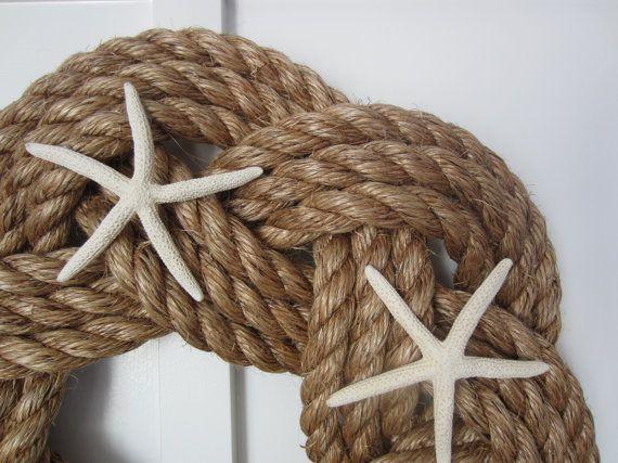 Couronne de corde avec une couronne Maritime blanc étoile de