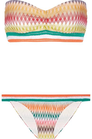 Missoni - Mare Rhombus Crochet-knit Bandeau Bikini - Orange - IT48