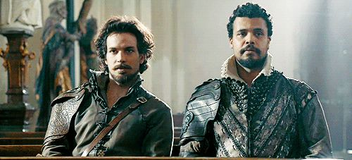 When someone says they don't enjoy reading because books aren't interesting. (Shared look of disdain) Honey, you aren't reading the right books. Aramis and Porthos. BBC The Musketeers.
