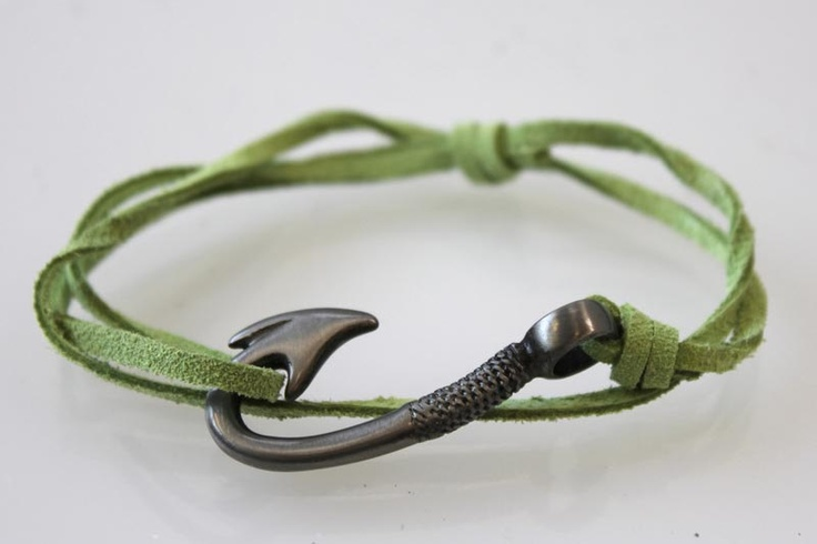 Fish Hook Bracelet. Would look awesome in wood!