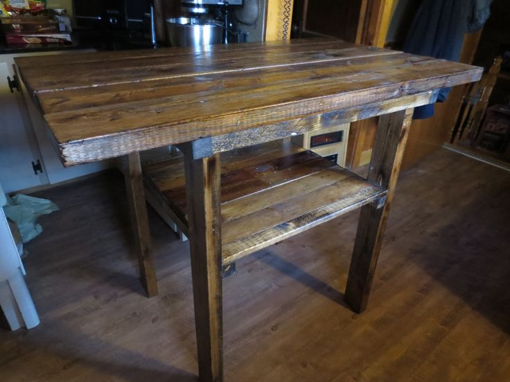 "Kitchen island made from old boards. 45"" x 27.5"" wide x 36.5 tall"