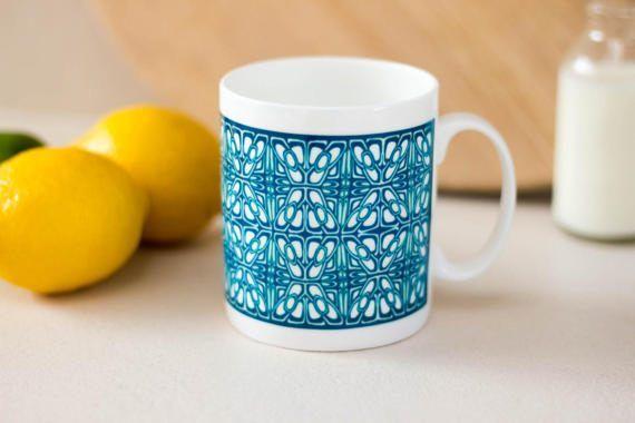 Hand printed mug celtic pattern teal blue mug fine by DoodlePippin