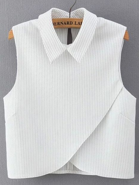 Shop Vertical Striped Wrap White Shirt online. SheIn offers Vertical Striped Wrap White Shirt & more to fit your fashionable needs.