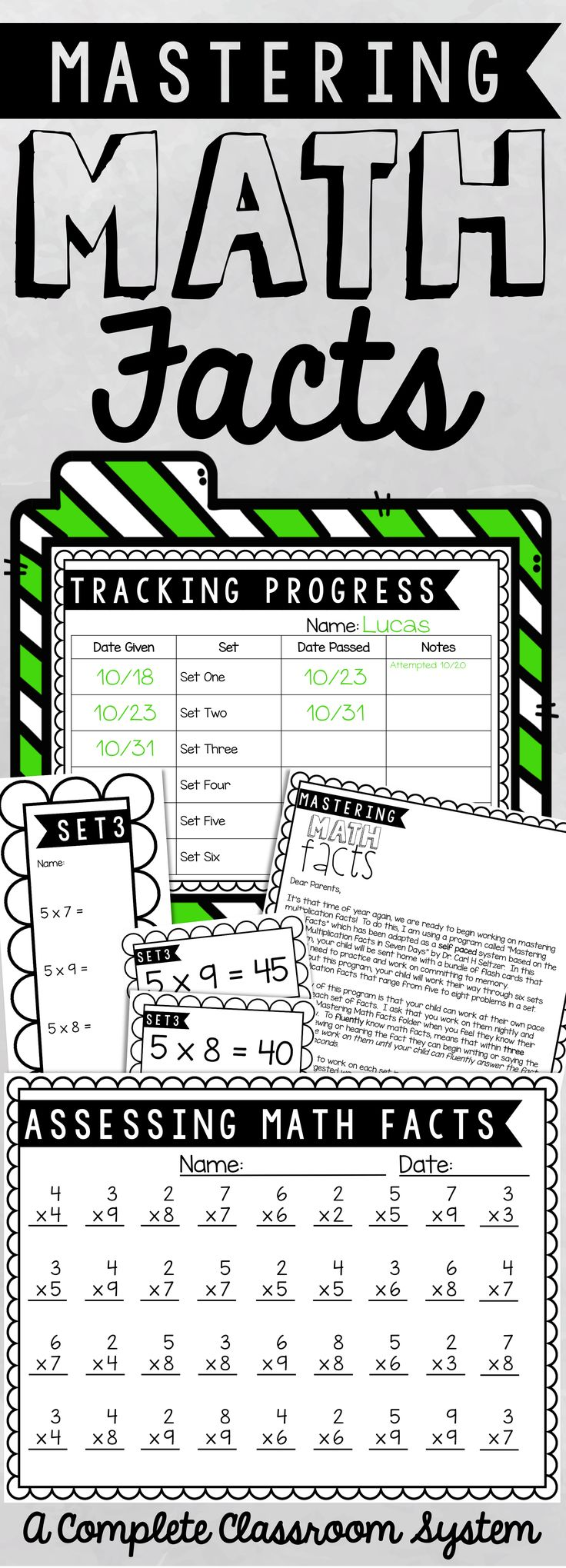 Do your students need help with multiplication math fact fluency? This program includes timed assessments, progress monitoring, flash cards, and parent letters for implementing a complete system for student mastery.