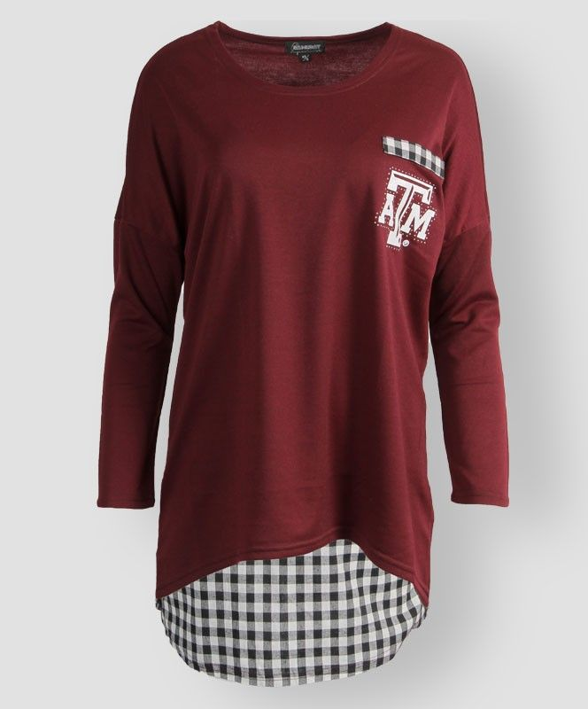 Oversized gingham print Texas A&M sweater. #AggieGifts #AggieStyle