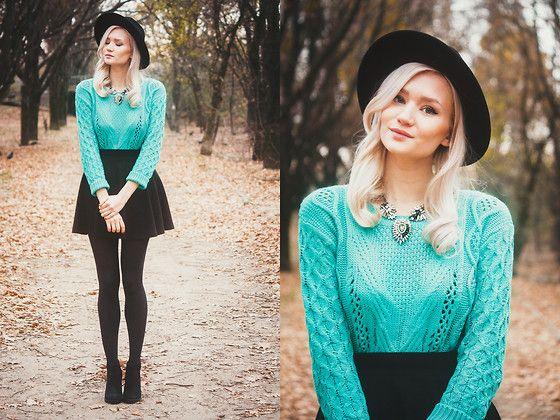 Turquoise jumper and skater skirt