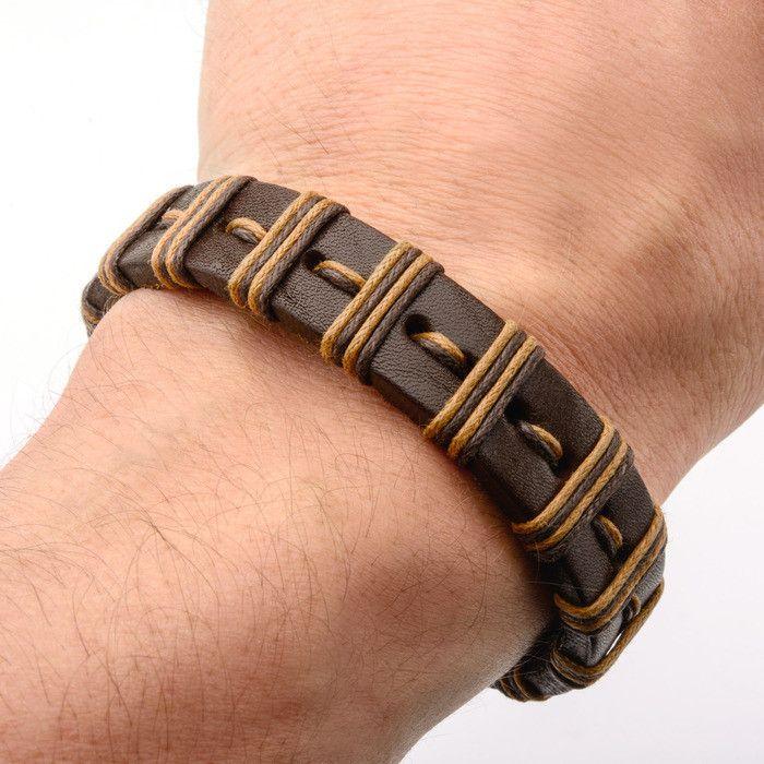 Brown Stripe Threaded Leather Bracelet w/ Steel Clasp