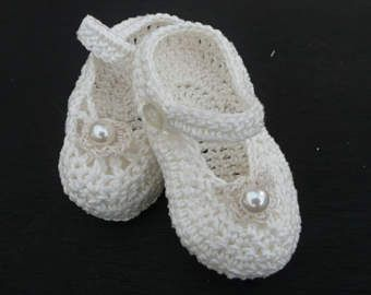 Items similar to Baby Girl Booties Crocheted White or Ivory Cotton Mary Jane with Lace Top on Etsy