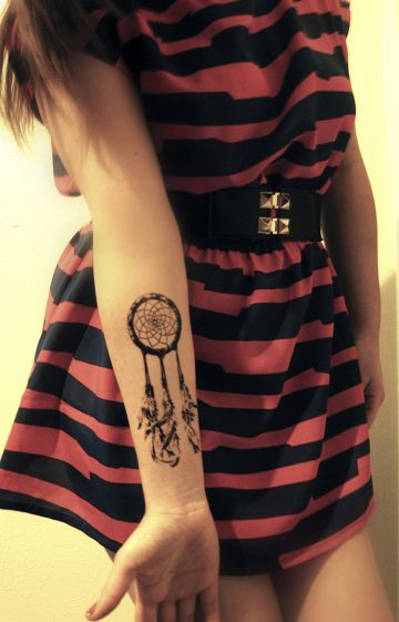 Dreamcatcher wrist tattoo. Much smaller, actually lots of symbolism because of my