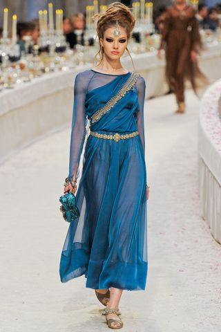 Love this blue Chanel dress.  Great color. This reminds me of Lygia's costume in Quo Vadis.