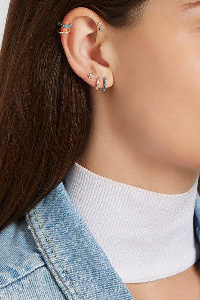 Maria Tash 18-karat gold, diamond and turquoise earring
