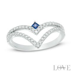 Vera Wang LOVE Collection 1/3 CT. T.W. Diamond and Blue Sapphire Split Shank Chevron Ring in 14K White Gold