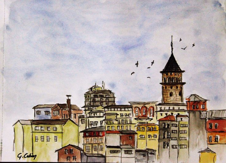watercolor sketches  galata tower,istanbul