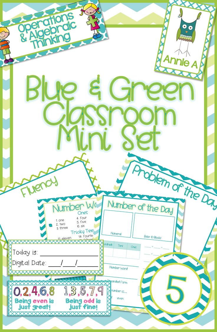 Create a math calendar wall using this mini set of instructional and organizational posters for a blue and green theme classroom.