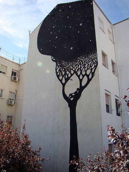 #streetart #artWall Art, Trees Art, Dreams, Urban Art, Graffiti, Street Art, Trees Murals, Night Sky, Streetart