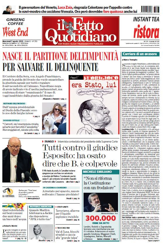 Il Fatto Quotidiano (07-08-13) Italian | True PDF | 24 pages | 9,15 Mb
