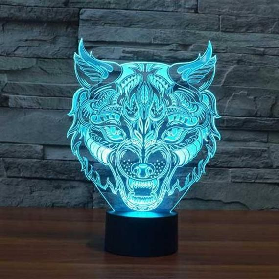 Wolf Headpersonalized 3d Illusion 15 Colors Changing Led Etsy 3d Illusions 3d Illusion Lamp Illusions