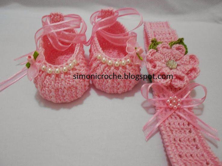 Simoni crochê: Sapatilha e faixa de cabeça em crochê