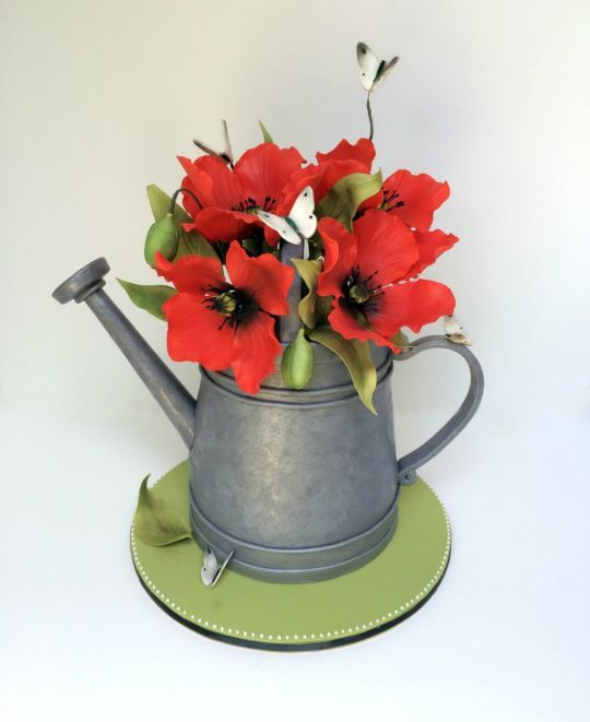 Creative rustic watering can cake with poppies from very unique cakes by veronique gumpaste - Unusual watering cans ...
