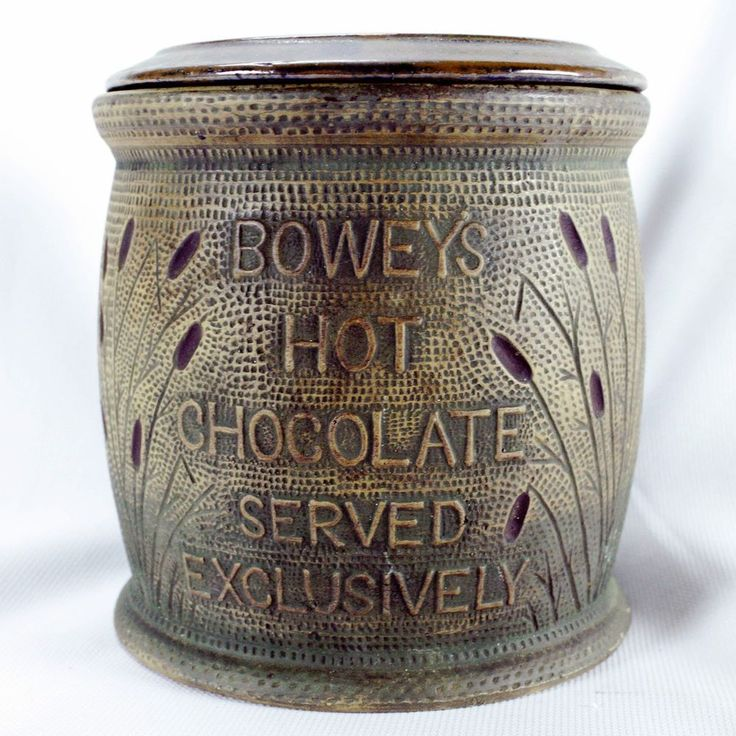 Red Wing Brushware Pottery ~ Bowey's Hot Chocolate Crock w/ Cattails Advertising