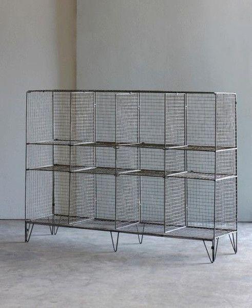 Low Gym Shelf | vintage industrial | loft living | warehouse conversion home | wire mesh locker unit | stylish storage