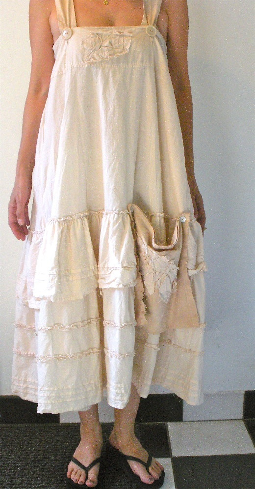 Tea dyed and recycled dress http://marjan.yourfreedomproject.com