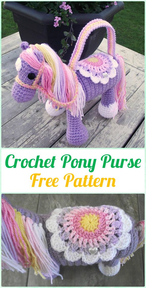 Crochet Pony Purse Free Pattern - Crochet Kids Bags Free Patterns