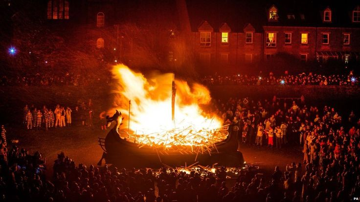27th January 2015. Shetland's annual Up Helly Aa fire festival has been celebrated, culminating in the burning of a replica Viking ship.