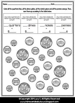 Money - US coins - printable activities - 10 worksheets