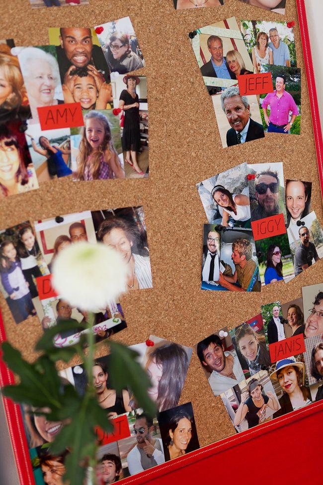 nous avons customisé un tableau en liège et punaisé une photo sympa de chaque invité.